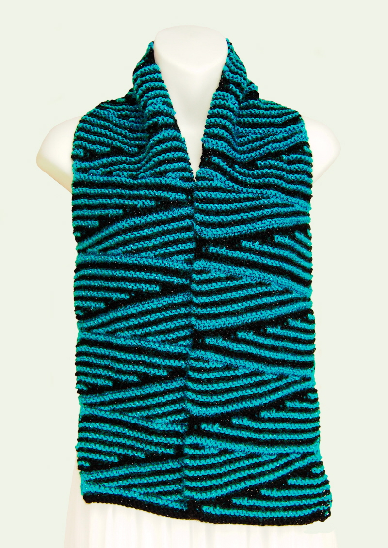 SarongsEtc.com - Hand-Knit, Wedges Zig-Zag Two-Color Soft Scarves